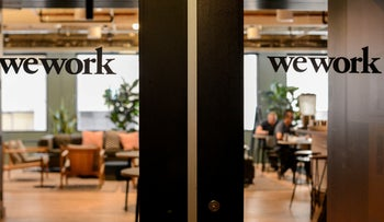WeWork logos are seen at a WeWork office in San Francisco, California, U.S. September 30, 2019.