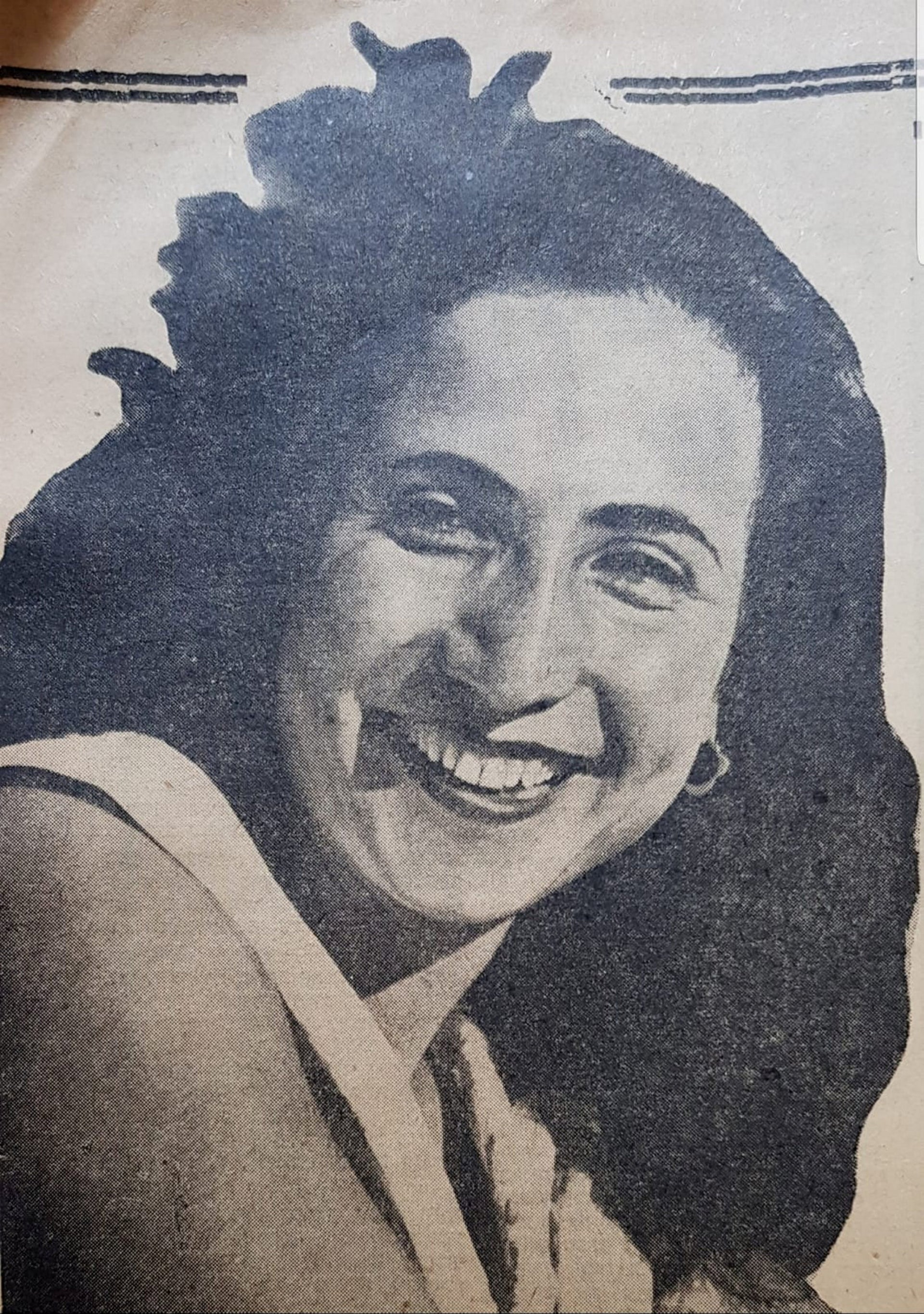 Sara Amram seen in a newspaper clipping. According to her diary, King Hussein himself visited her after she was arrested.