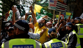 Demonstrators protest against the scrapping of the special constitutional status in Kashmir by the Indian government, outside the Indian High Commission in London, Britain, August 15, 2019