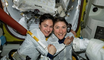U.S. astronauts Jessica Meir, left, and Christina Koch in the International Space Station, October 18, 2019.