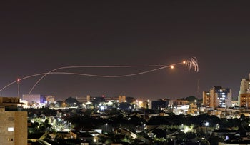 Iron Dome anti-missile system fires interception missiles as rockets are launched from Gaza towards Israel as seen from the city of Ashkelon, November 1, 2019.