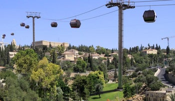 Illustration of the cable car crossing over the Silwan neighborhood in East Jerusalem.