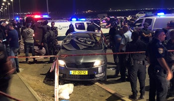 The vehicle in which two men were found dead with gunshot wounds at the entrance to the Bedouin community of Tel Sheva, November 4, 2019.