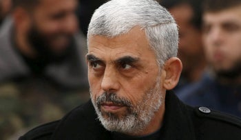 File photo: Hamas leader Yehya Al-Sinwar attends a rally in Khan Younis in the southern Gaza Strip, 2016.