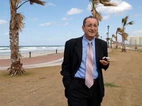 Shmuel Siso, former mayor of Kiryat Yam, current Tel Mond council head, poses for cameras, February 22, 2008