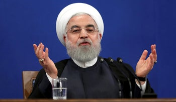 Iran's President Hassan Rohani gives a press conference in Tehran, Iran, Oct. 14, 2019.