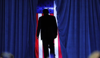 President Donald Trump exiting after speaking at a campaign rally in Lake Charles, Louisiana, October 11, 2019.