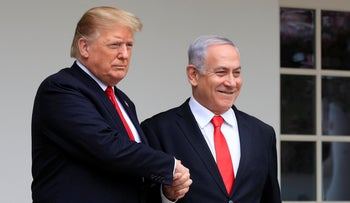 U.S. President Donald Trump welcomes visiting Israeli Prime Minister Benjamin Netanyahu to the White House in Washington, March 25, 2019.