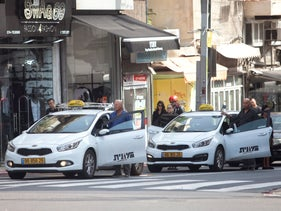 Cabs in Tel Aviv, July 2, 2018.