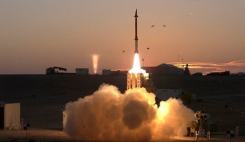 A launch of David's Sling missile defense system, provided by the Israeli Ministry of Defense December 21, 2015.