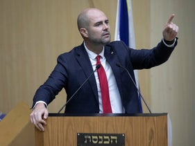Israeli Justice Minister Amir Ohana speaking at the Knesset during a briefing of the Central Election Committee ahead of the September 17 election.