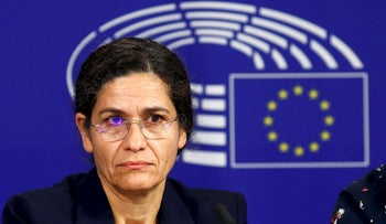 Ilham Ahmed, co-chair of the Syrian Democratic Council (SDC), addresses a news conference at the European Parliament in Brussels, Belgium October 10, 2019