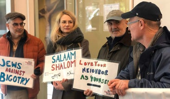 Jewish members of The House of Peace initiative greeting Muslim worshippers at the Islamic Center at New York University, November 8, 2019.