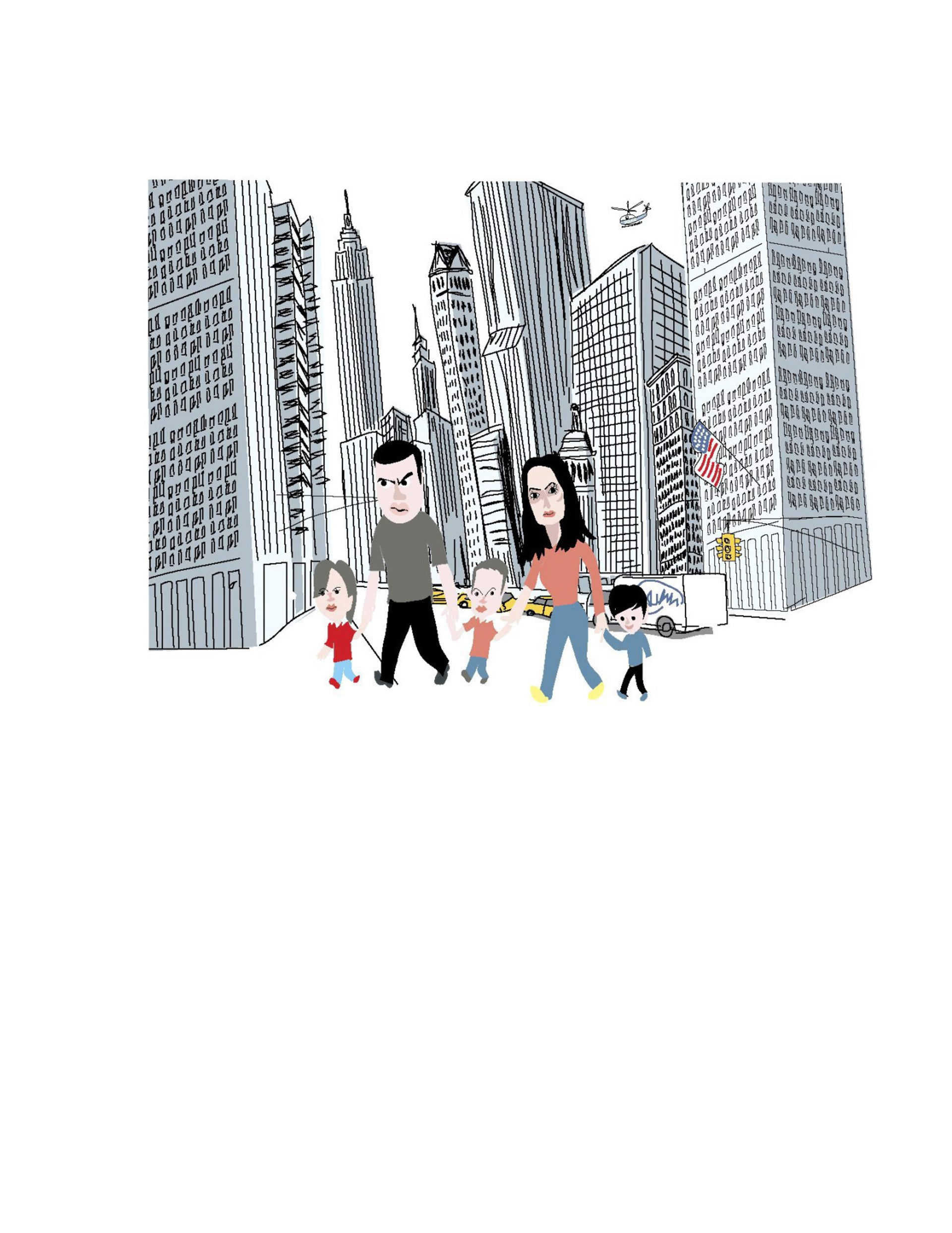 An illustration of Sayed Kashua with his family on a city street.