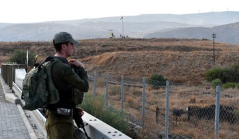 An Israeli soldier patrolling Naharayim a day before control returned to Jordan, November 7, 2019.