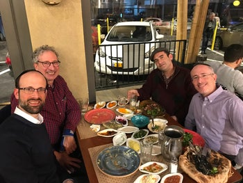 Rabbi David D. Steinberg, left, Marc Brettler, Rabbi Zev Farber and David Bar-Cohn in Jerusalem, February 2019.