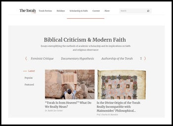 A screengrab from TheTorah.com website.