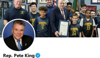 Image of Peter King's official Twitter account