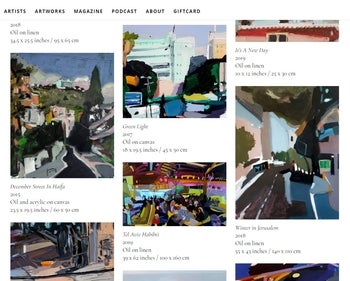 A screenshot of Art Source. 'We understood that there was a need for an online home for contemporary Israeli art.'