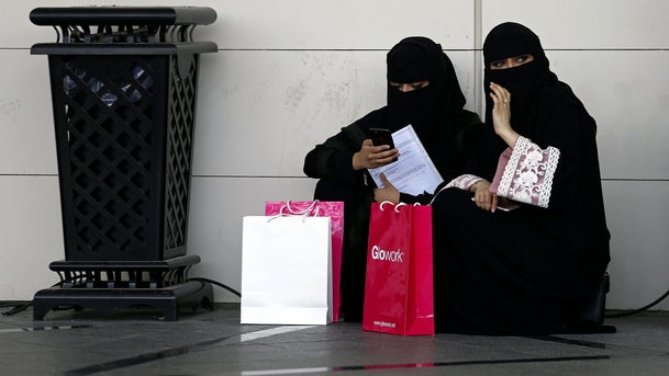 Saudi students are seen at an exhibition to guide job seekers to a women's career fair in Riyadh, Saudi Arabia, October 2, 2018.