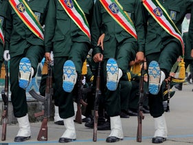 Iranian Officers of Revolutionary Guard, with Israel flag drawn on their boots, are seen seen during a graduation ceremony for student officers and guard trainees in Tehran, Iran September 13, 2019.
