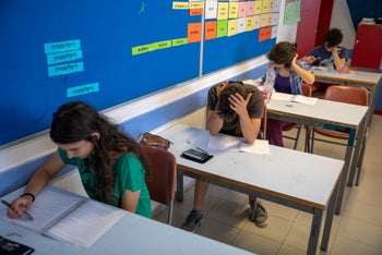 Israeli students during a test.