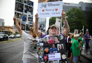Protesters who have lost loved ones to OxyContin and opioid overdoses, outside the Purdue Pharma headquarters in Stamford, Conn., U.S., on August 17, 2018.