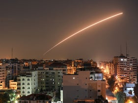 Missile launched from Israel's Iron Dome air defense interception system above Gaza City. Nov. 12, 2019