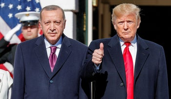 U.S. President Donald Trump welcomes Turkey's President Tayyip Erdogan at the White House in Washington, U.S., Nov. 13, 2019.
