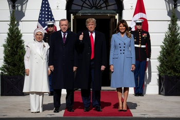 President Donald Trump and first lady Melania Trump welcome Turkish President Recep Tayyip Erdogan and his wife Emine Erdogan to the White House, Wednesday, November 13, 2019