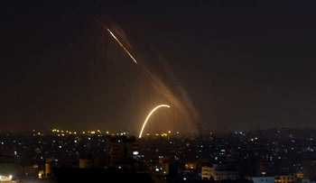 Rockets launched from Gaza toward Israel on November 13, 2019.
