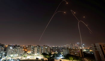 The Iron Dome anti-missile system fires at rockets launched from Gaza at Ashkelon, November 13, 2019.