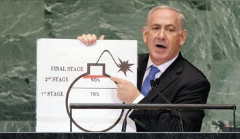 Prime Minister Benjamin Netanyahu showing an illustration as he describes his concerns over Iran's nuclear ambitions during his address to the 67th session of the United Nations General Assembly, September 2012.