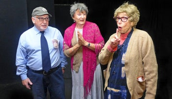 """Maurice Ross, left, Bertha Cafrey and Ruth Willner in Haifa English Theatre's production of """"Welfarewell."""""""
