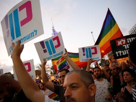 A protest for LGBT rights in Tel Aviv, 2018.