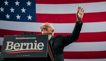 Democratic presidential candidate Sen. Bernie Sanders speaks at a campaign rally at the University of Minnesotas Williams Arena on November, 3, 2019 in Minneapolis, Minnesota