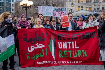 Solidarity rally in New York's Union Square with Gaza's March of Return. April 6, 2018