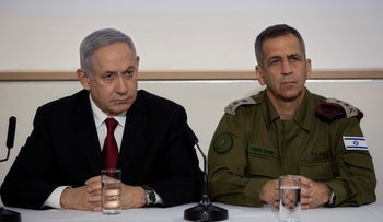 Prime Minister Benjamin Netanyahu holds a press conference with IDF Chief of Staff Lt. Gen. Aviv Kochavi to announce the assassination of Baha Abu al-Ata in Tel Aviv, November 12, 2019.