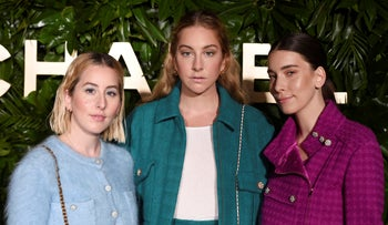 Sisters Alana, left, Este, center, and Danielle Haim of the band HAIM pose together at the launch of the Gabrielle Chanel Essence fragrance at the Chateau Marmont in Los Angeles, September 12, 2019.