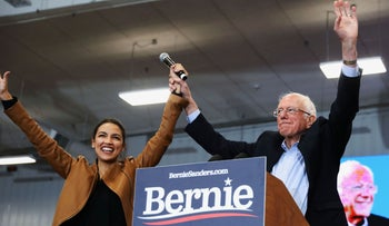 Senator Bernie Sanders and Rep. Alexandria Ocasio-Cortez at a rally in Council Bluffs, Iowa, November 8, 2019.