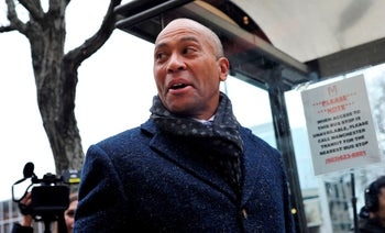 Former Massachusetts Governor Deval Patrick talking to reporters in Concord, New Hampshire, November 14, 2019.