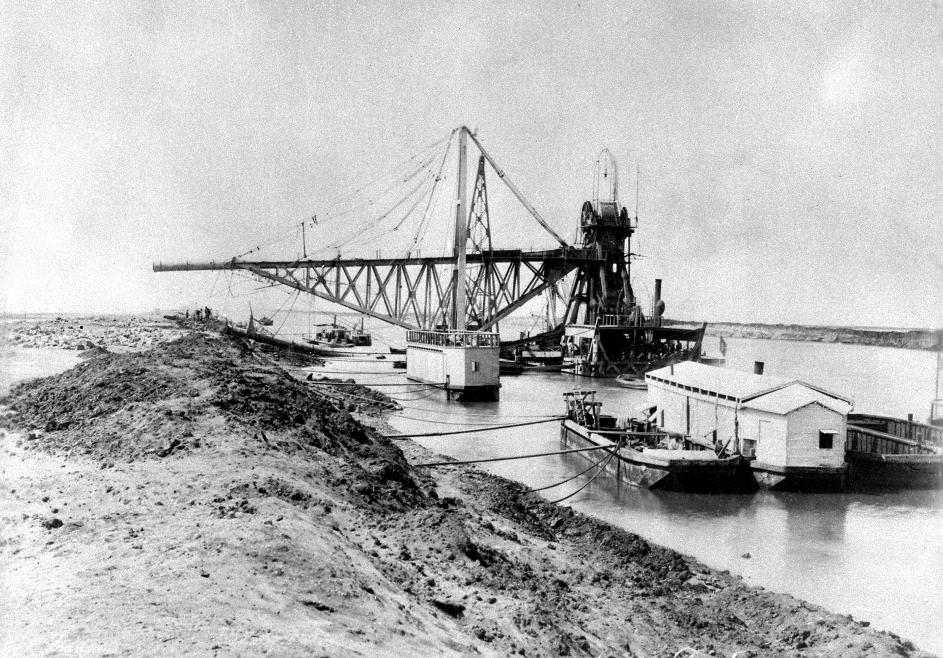 The digging of the Suez Canal in Egypt in 1869.