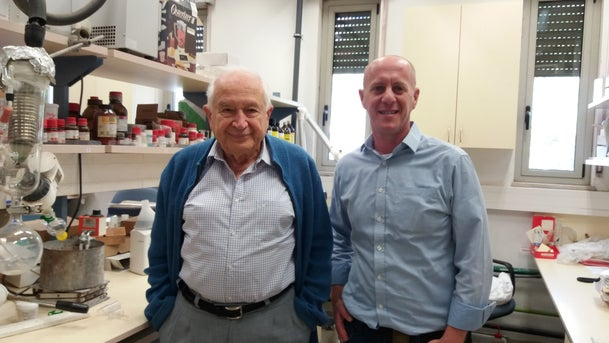 Clifton Flack with Profesor Refael Meshulam at hebrew university lab