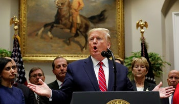U.S. President Donald Trump delivers remarks on honesty and transparency in healthcare prices inside the Roosevelt Room at the White House in Washington, U.S., November 15, 2019.