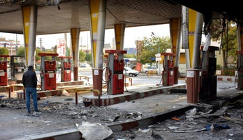 A gas station that was set ablaze by protesters during a demonstration against a rise in gasoline prices in Eslamshahr, near the Iranian capital of Tehran, November 17, 2019.
