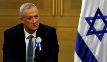 Benny Gantz, leader of Blue and White party looks on during his party faction meeting at the Knesset, Israel's parliament, in Jerusalem October 3, 2019.