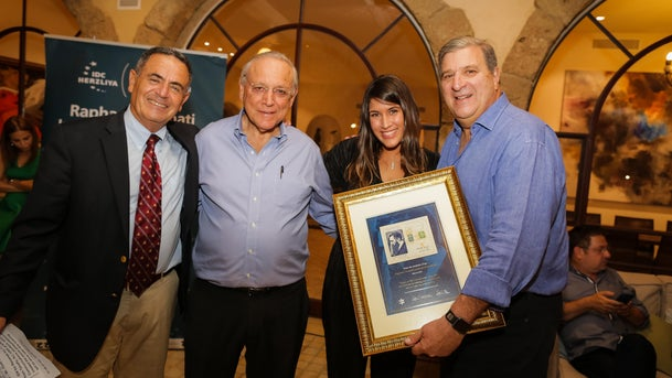 From left to right: Jonathan Davis (Head of the Raphael Recanati International School), Uriel Reichman (President & Founder of IDC Herzliya), Liron Tzour and Raphael Recanati (International School Alumni).