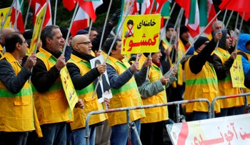 People attend a protest in Germany to support nationwide demonstrations in Iran against the rise in gasoline prices, in Berlin, Germany November 17, 2019.