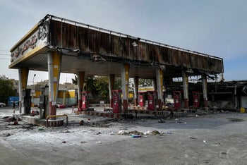 A gas station that was burned during protests following authorities' decision to raise gasoline prices, Tehran, November 17, 2019.