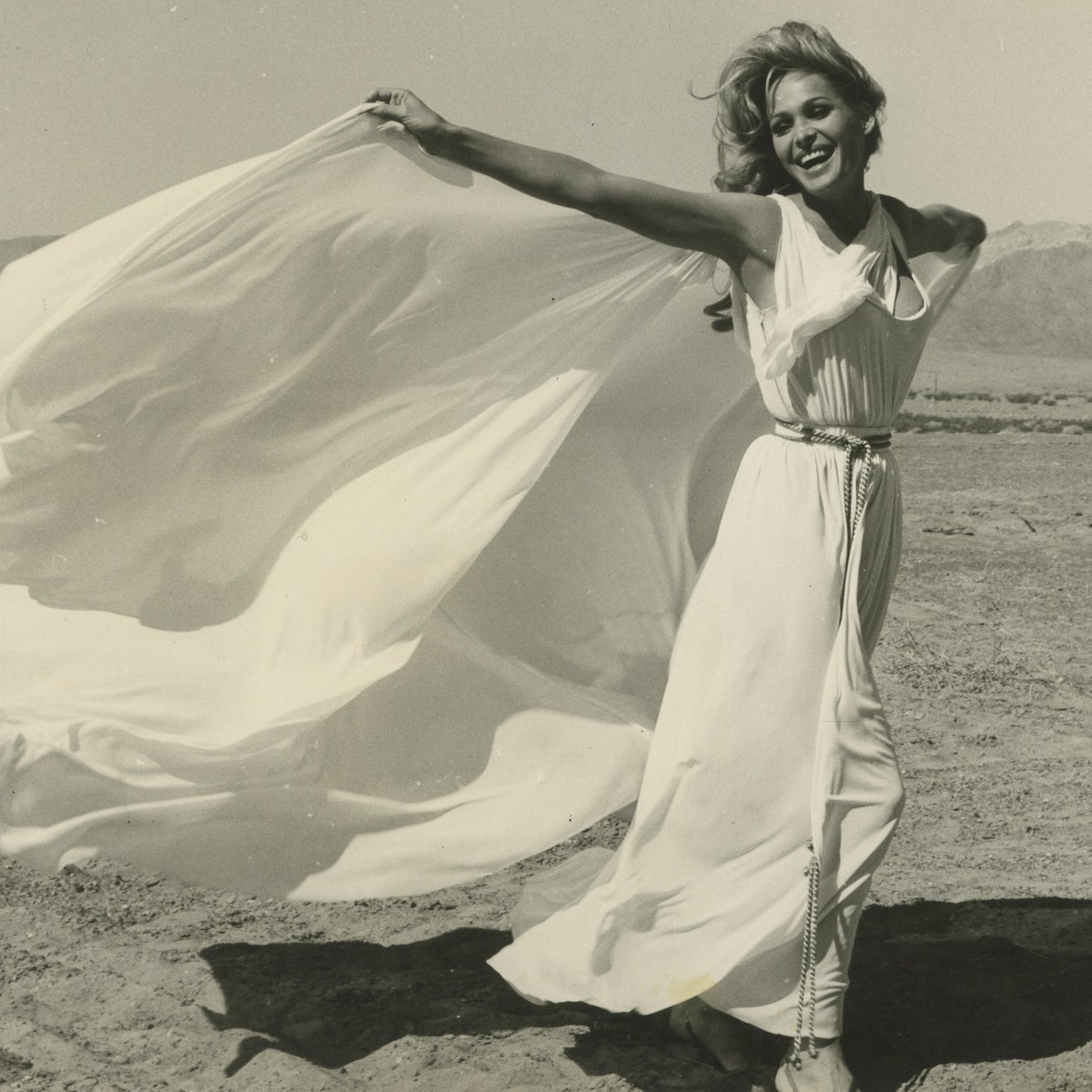 Swiss movie star and model Ursula Andress on a visit to Israel.